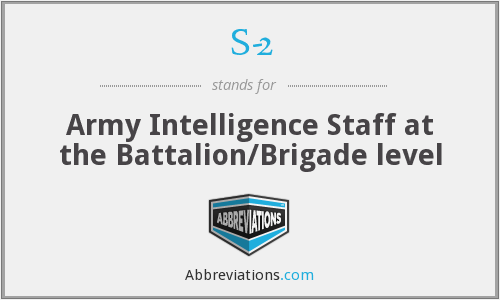 S-2 - Army Intelligence Staff at the Battalion/Brigade level