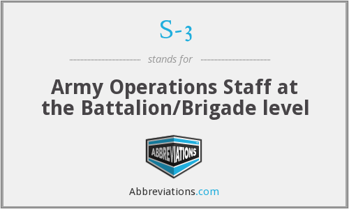 S-3 - Army Operations Staff at the Battalion/Brigade level