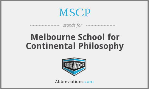 MSCP - Melbourne School for Continental Philosophy