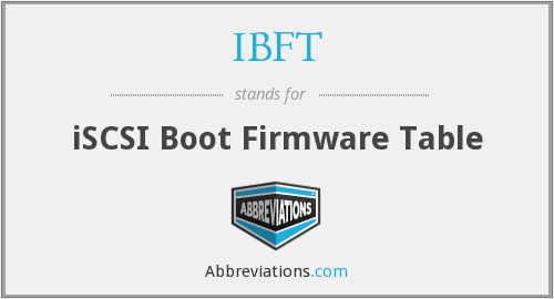 IBFT - iSCSI Boot Firmware Table