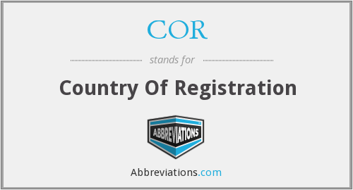 COR - Country Of Registration