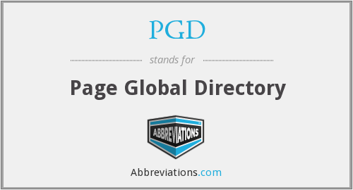 PGD - Page Global Directory