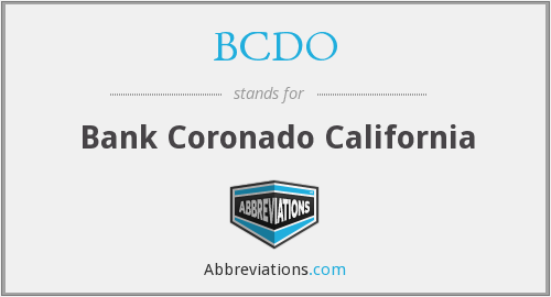 BCDO - Bank Coronado California