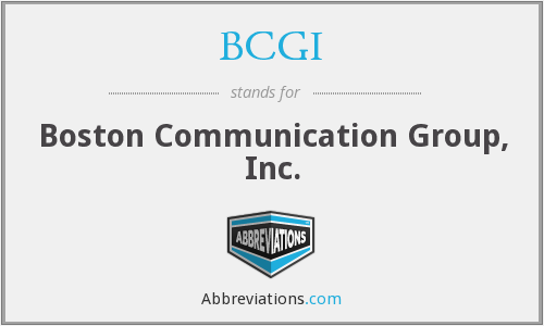 What does BCGI stand for?