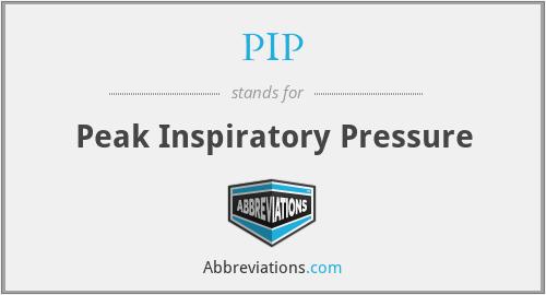 PIP - Peak Inspiratory Pressure