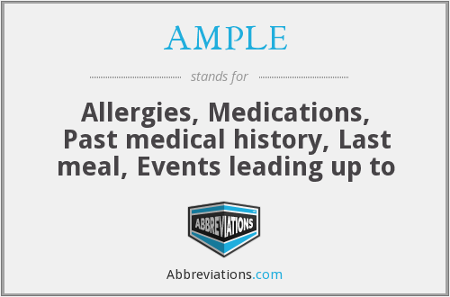 AMPLE - Allergies, Medications, Past medical history, Last meal, Events leading up to