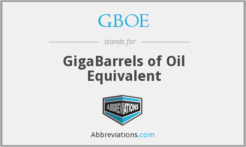 GBOE - GigaBarrels of Oil Equivalent