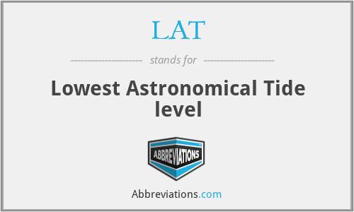LAT - Lowest Astronomical Tide level