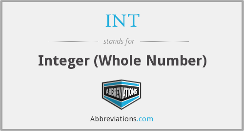 INT - Integer (Whole Number)