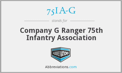 75IA-G - Company G Ranger 75th Infantry Association