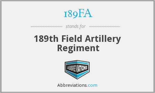 189FA - 189th Field Artillery Regiment