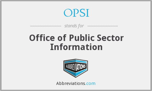 OPSI - Office of Public Sector Information