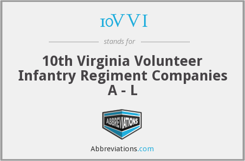 10VVI - 10th Virginia Volunteer Infantry Regiment Companies A - L