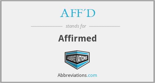 AFF'D - Affirmed