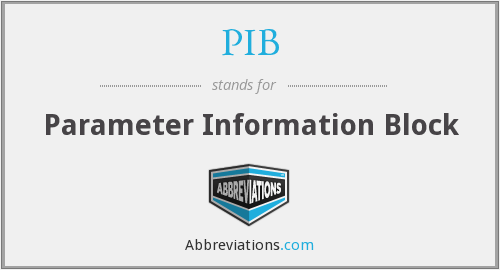 PIB - Parameter Information Block
