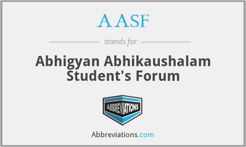 AASF - Abhigyan Abhikaushalam Student's Forum