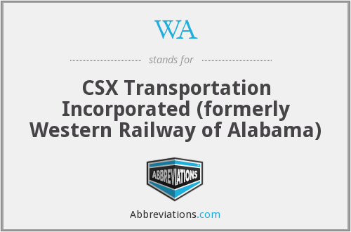 WA - CSX Transportation Incorporated (formerly Western Railway of Alabama)