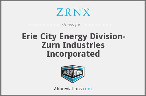 ZRNX - Erie City Energy Division- Zurn Industries Incorporated
