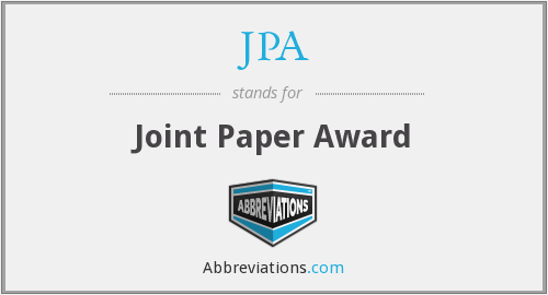 JPA - Joint Paper Award
