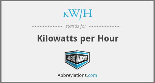 kW/H - Kilowatts per Hour