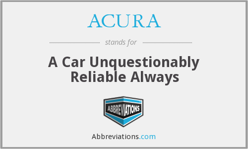 ACURA - A Car Unquestionably Reliable Always