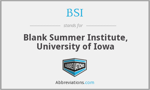 BSI - Blank Summer Institute, University of Iowa