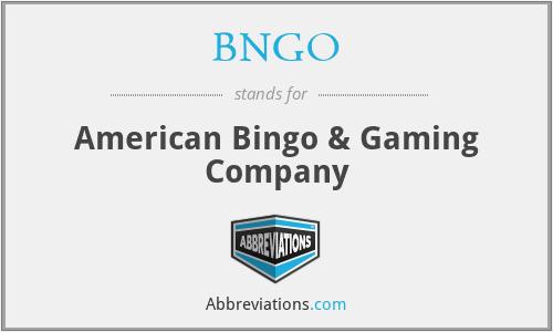 BNGO - American Bingo & Gaming Company