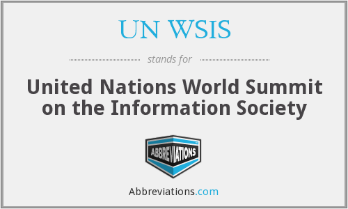 What does UN WSIS stand for?