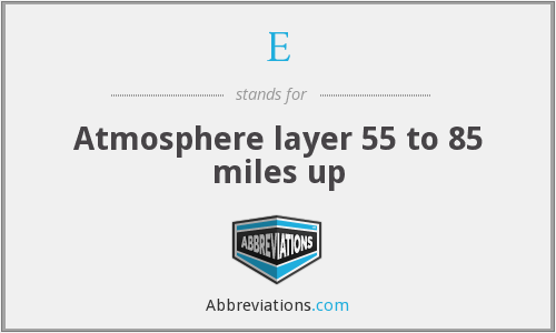 E - Atmosphere layer 55 to 85 miles up