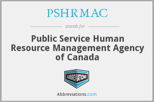 PSHRMAC - Public Service Human Resource Management Agency of Canada