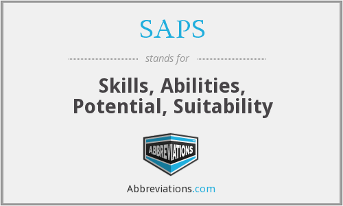 SAPS - Skills, Abilities, Potential, Suitability