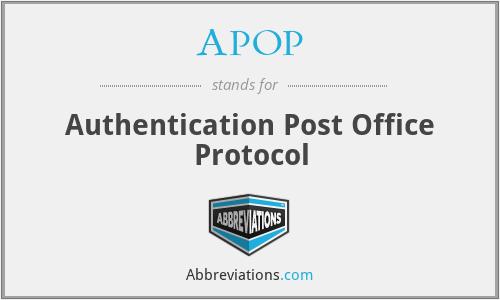 APOP - Authentication Post Office Protocol