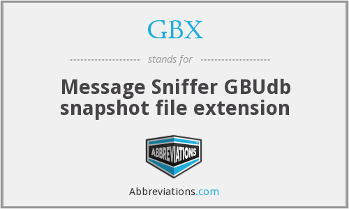 GBX - Message Sniffer GBUdb snapshot file extension