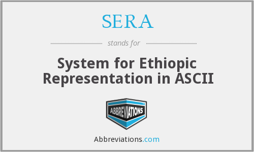 SERA - System for Ethiopic Representation in ASCII