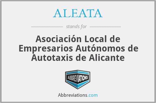 ALEATA - Asociación Local de Empresarios Autónomos de Autotaxis de Alicante