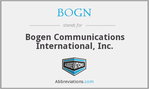 BOGN - Bogen Communications International, Inc.