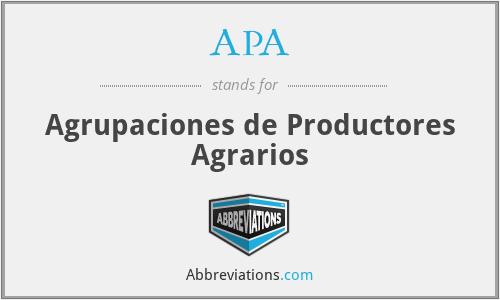APA - Agrupaciones de Productores Agrarios