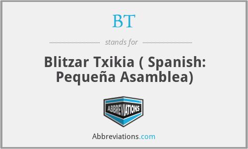 BT - Blitzar Txikia ( Spanish: Pequeña Asamblea)