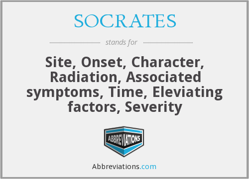 SOCRATES - Site, Onset, Character, Radiation, Associated symptoms, Time, Eleviating factors, Severity