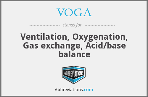 VOGA - Ventilation, Oxygenation, Gas exchange, Acid/base balance