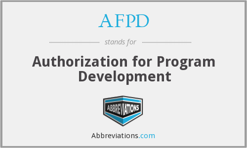 AFPD - Authorization for Program Development