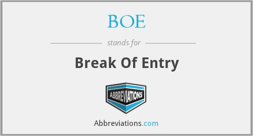 BOE - Break Of Entry