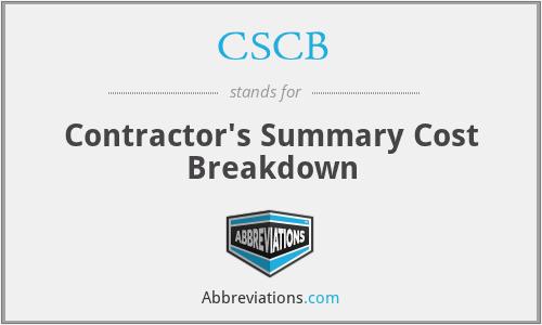 CSCB - Contractor's Summary Cost Breakdown