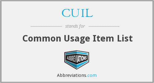 CUIL - Common Usage Item List