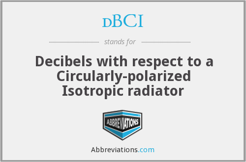 dBCI - Decibels with respect to a Circularly-polarized Isotropic radiator