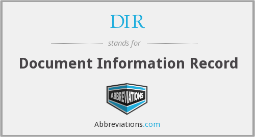 DIR - Document Information Record