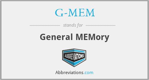 G-MEM - General MEMory