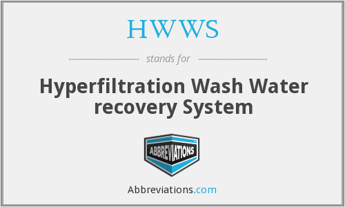 HWWS - Hyperfiltration Wash Water Recovery System