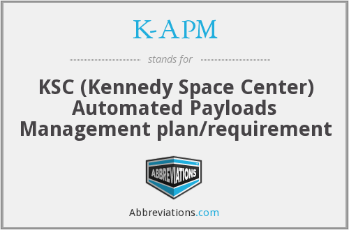 K-APM - KSC (Kennedy Space Center) Automated Payloads Management plan/requirement