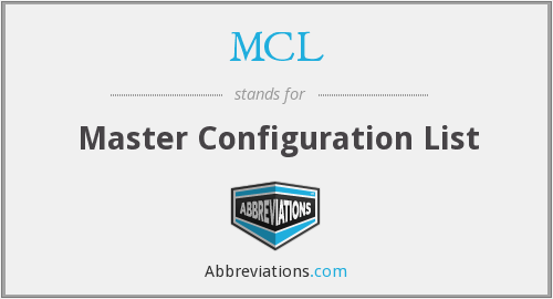 MCL - Master Configuration List